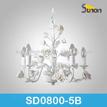 Decorative wrought painting with ceramic flower modern indian chandeliers