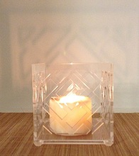 clear cut out flower acrylic candle holder lampshade