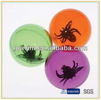 3D spider inside transparent high bouncing ball