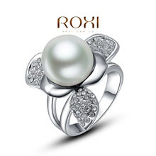 2014 new arrival fashion luxurious pearl rings,wholesale,high-end ring,customized,suit all occasions,Austrian crystals