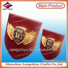 Custom enamel metal logo plaque with epoxy for high end brand handbags