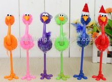 Wholesale New Design Fashion multicolor ostrich shape ball pen