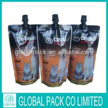 Custom printed spout foil pet food bag