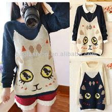 Loose Big Face Cat Women's Long Sleeve Knit Sweater