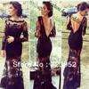 Top 2014 Gorgeous Elegant Backless Design Long Black Dress See Though Lace Dress Appliqued Long Sleeve Formal Evening Dress