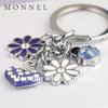 Z32 Wholesale Purple alloy Ladybug Lily Flowers keyring key chain