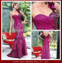 YED11084 Asymmetrical design lace applique new arrivals 2014 long evening dress one shoulder