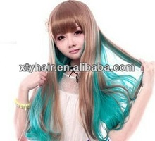 New Fashion Gold Green Party Style Womens synthetic long hair wig with bang (fringe) Girls Cosplay Long Hair