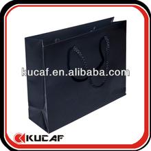 Cotton Ribbon Handle Glossy Black Paper Shopping Bags