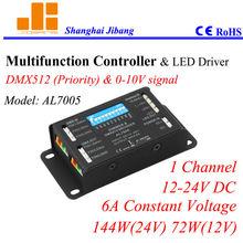 Multiple ECO Dimmers, 0-10V DMX controller, DMX pwm dimmer, 1 Channel/12V-24V/6A/144W pn: AL7005
