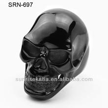 Men's 316L Stainless Steel Big Black Plated Skull Biker Ring