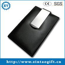 Hot sale black leather money clip wallet