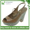 Tan High Heel Clog Sandal Shoes