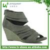 Women Wrinkle Upper Wedge Hemp Rope Sandals