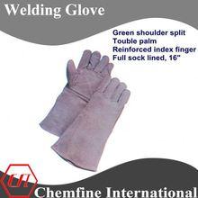 """grey shoulder split, double palm and reinforced index finger, full sock lined 16"""" leather welding gloves/ EN388"""