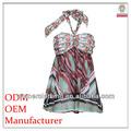 Venta caliente promoción de ropa fabricante ladies' baratos impreso vestido de raso con correas