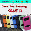 New flip skylight genuine leather case for sansung GALAXY S4 cell phone cover case for samsung cell phone case blister packaging