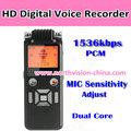 1536 kbps on line gravador de voz com 50 m gravação gama e built in 8 GB de memória