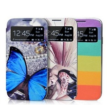 Intelligent Drawing colorful pattern with flip open leather phone cover/case for samsung i95