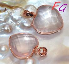Pd-US-0037 Natural Rose Crystal powder, cut heart-shaped pendant, rose am pendant