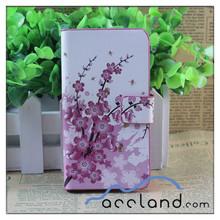 Hot plum blossom credit card slot case leather belt clip flip wallet case for iphone 4 4s