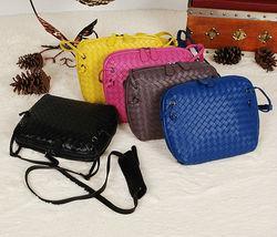 2014 new arrival nice quality sheepskin woven leather handbags blue shoulder bag dropship