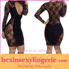 black lace knee length black sexy party club dress