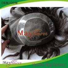 Natural straight hair toupee 6inch long for men european hair topper wig