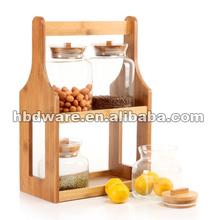 2014 Mutifunctional glass storage jars with bamboo rack
