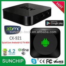 CX-921 Latest 1080P DLNA WIFI media Android 4.2 Quad Core Rockchip 3188 Smart TV BOX Smart Internet TV Box Builtin WIFI Full HD