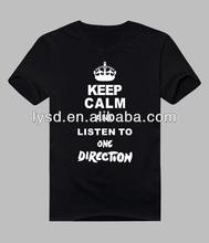 OEM DIY Customized cotton t shirt Men Women KEEP CALM AND LISTEN TO ONE DIRECTION t shirt