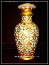 Marble Handicrafts Vase Golden Work