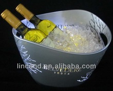 LED candor silver plated stand up plastic wine cooler with stand