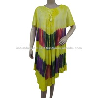 BATIK PATTERN YELLOW DRESS WOMEN SHORT SLEEVES TUNIC SUMMER RAYON SUNDRESS