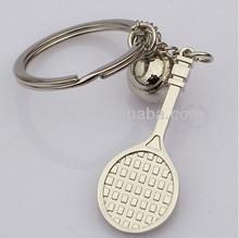 tennis keychain,Tennis ball and bat keychain key ring chain