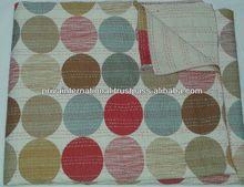 Indian Polka Dots cotton kantha blankets-throw/ sofa cushion cover