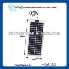 22W semi flexible photovoltaic solar PV panels system marine solar panel high efficency yacht boat carvan