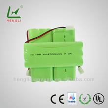 High quality 7.2v nimh aa 1500mah battery pack