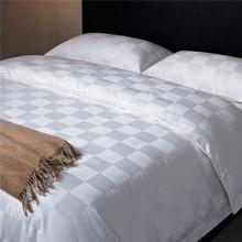 White solid color bedding polyester cotton fabric big checks