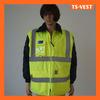 yellow 300D oxford reflective safety jacket hi vis clothing