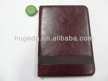 pu leather A4 zip organizers portfolio with calculator