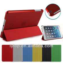 Tri folding leather & tranparent clear hybrid case for ipad mini 2