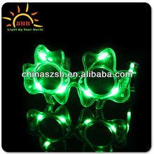 Blinking Gifts LED Flashing Light Up New Fashion Shamrock Decoration Eyewear, Made in China Factory