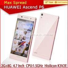 "China Mobile 4.7""IPS 720P Original Huawei Ascend P6 K3V2E Quad Core 1.5GHz long battery life smart phone"
