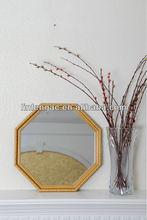Fancy octagon shape gypsum embossed bathroom hinged wall mirror