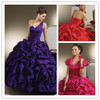 SQ77 New Arrival Victorian Fashion Design One Shoulder Red Purple Sweetheart Crystals Ball Gown Evening Quinceanera Dresses 2014