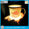 top quality white porcelain led flashing beer mug with custom design for promotions