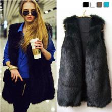 2014 Winter V-neck sleeveless faux fur vest women long waistcoat design vest 4colors S,M, L 18820