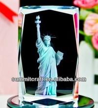 Luminescence 3D gravure de cristal statue de la liberté figurine