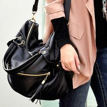 china manufacturer Woman Synthetic Leather Tassel Shoulder Bag Zipper Large Capacity Handbag Big Bag Black 18486